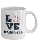 "Gift for Baseball Sport  Fan, "" Love Baseball"" Coffee Mug for Baseball Lovers"