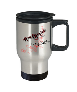 State of New Mexico in My Heart Travel Mug With Lid Unique Novelty Birthday Christmas Gifts Coffee Tea Cup