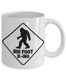 Funny Bigfoot X-ing Mug Big Foot Crossing Ceramic Coffee Cup Gift for Monster Hunters