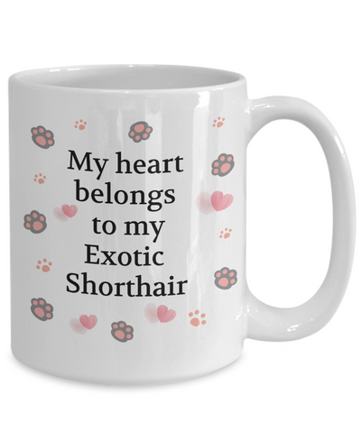 My Heart Belongs to My Exotic Shorthair Mug Cat Unique Novelty Coffee Cup Gifts