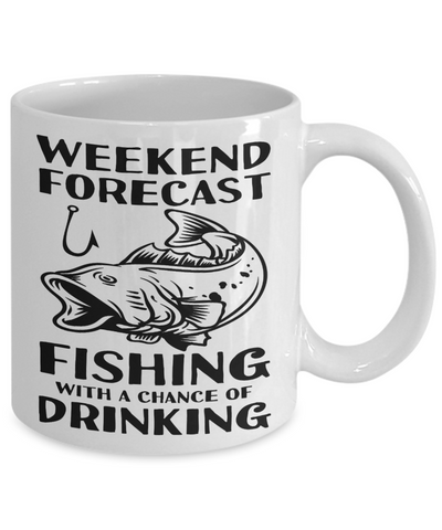 Image of Funny Fishing Gifts Weekend Forecast Fishing With a Chance of Drinking Funny Fishing Mug