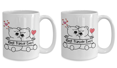 Image of Best Fiancée and Fiancé Ever Bear Mug Gift Set