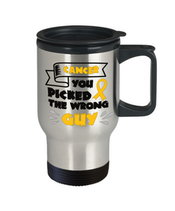 Cancer Survivor Gift Travel Mug With Lid  You Picked The Wrong Guy Coffee Tea Cup For Men