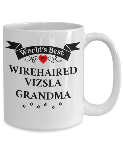 Image of World's Best Wirehaired Vizsla Grandma Cup Unique Ceramic Dog Coffee Mug Gifts for Women