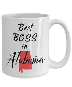 Best Boss in Alabama State Mug Novelty Birthday Christmas Gifts Ceramic Coffee Cup for Employer Day