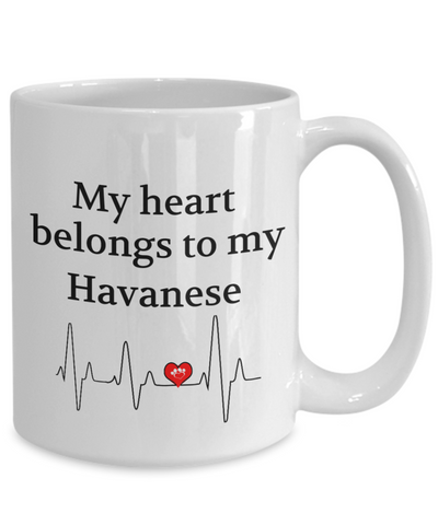 Image of My Heart Belongs to My Havanese Mug Dog Lover Novelty Birthday Gifts Unique Work Ceramic Coffee Gifts for Men Women