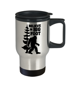 I Believe in Bigfoot Mug Big Foot Monster Hunters Travel Coffee Cup Camping Gear Gifts