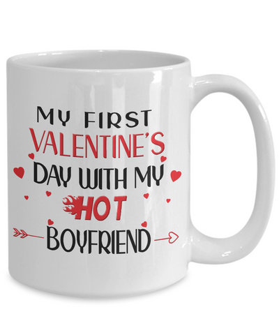 My First Valentine's Day With My Hot Boyfriend Mug Gift for Girlfriend Novelty Coffee Cup