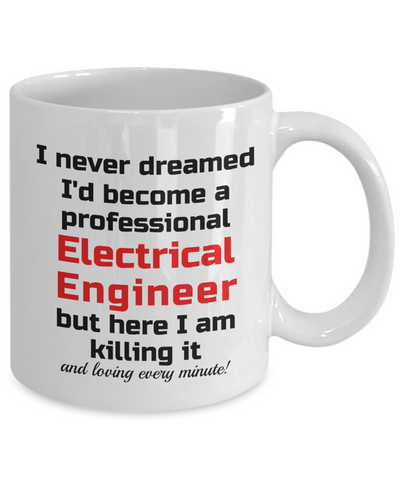 Image of Electrician Specialist Mug I Never Dreamed I'd Become a Professional Electrical Engineer but here I am killing it and loving every minute! Unique Novelty Birthday Christmas Gifts Humor Quote Ceramic Coffee Tea Cup
