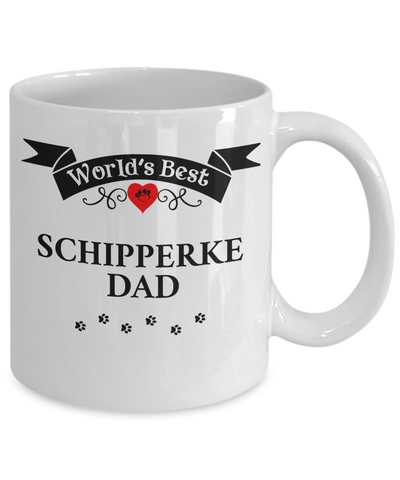 Image of World's Best Schipperke Dad Cup Unique Dog Ceramic Coffee Mug Gifts for Men