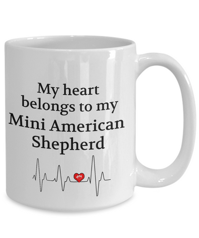 Image of My Heart Belongs to My Mini American Shepherd Mug Dog Lover Novelty Birthday Gifts Unique Work Ceramic Coffee Gifts for Men Women