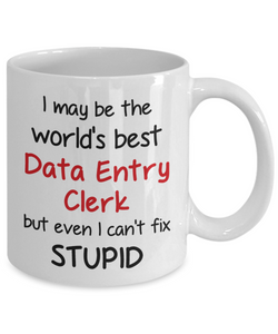 Data Entry Clerk Occupation Mug Funny World's Best Can't Fix Stupid Unique Novelty Birthday Christmas Gifts Ceramic Coffee Cup