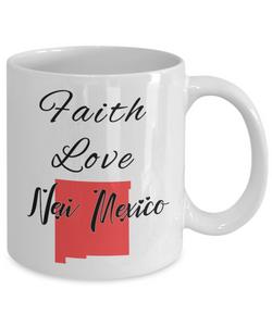 Patriotic USA Gift Mug Faith Love New Mexico Unique Novelty Birthday Christmas Ceramic Coffee Tea Cup