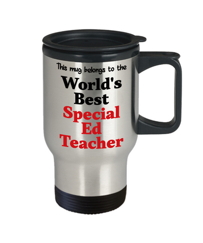 Image of World's Best Special Ed Teacher Occupational Insulated Travel Mug With Lid Gift Novelty Birthday Thank You Appreciation Coffee Cup