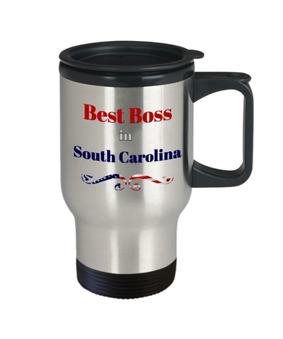 Image of Employer Gift Best Boss in South Carolina State Travel Mug With lid  Novelty Birthday Christmas Secret Santa Thank You or Anytime Present Coffee Cup