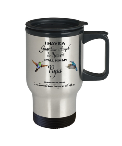 Image of Dad Memorial Gift I Have a Guardian Angel in Heaven Father Remembrance Travel mug with lid