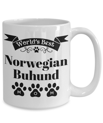 Image of World's Best Norwegian Buhund Dog Mom Mug Fun Novelty Birthday Gift Work Coffee Cup