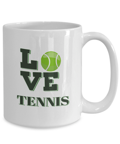 "Image of Gift for Tennis Sport  Fan, "" Love Tennis"" Coffee Mug for Tennis Lovers"
