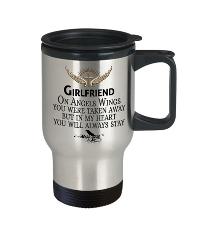 Girlfriend Angel Wings In Loving Memory Travel Mug Gift Memorial Coffee Cup