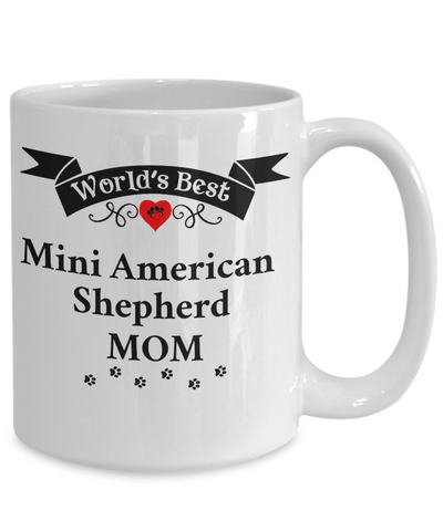 Image of World's Best Mini American Shepherd Mom Cup Unique Ceramic Dog Coffee Mug Gifts for Women