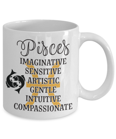 Image of Pisces Zodiac Mug Gift Fun Novelty Birthday Coffee Cup