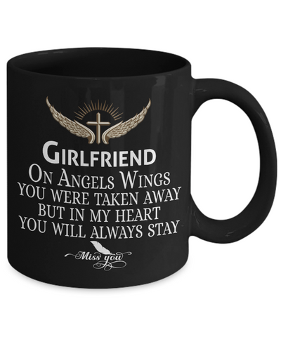Image of Girlfriend Angel Wings In Loving Memory Black Mug Gift Memorial Coffee Cup