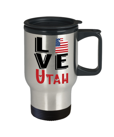 Image of Love Utah State Travel Mug Gift Novelty American Keepsake Coffee Cup