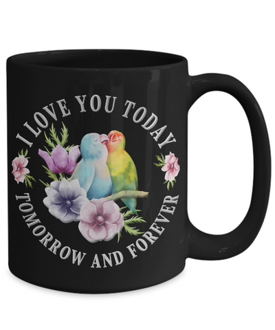Image of I Love You Lovebird Black Mug Gift Novelty Birthday Christmas Valentine's Day Coffee Cup