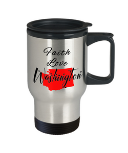 Patriotic USA Gift Travel Mug With Lid Faith Love Washington Unique Novelty Birthday Christmas Ceramic Coffee Tea Cup
