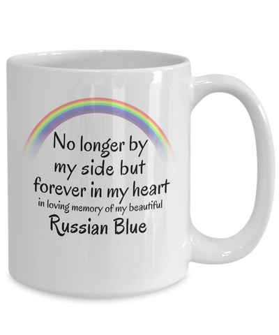 Image of Russian Blue Memorial Gift Cat Mug No Longer By My Side But Forever in My Heart Cup In Memory of Pet Remembrance Gifts
