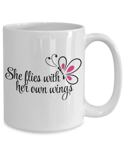 She Flies With her Own Wings Mug Gift Inspirational Daughter Granddaughter Birthday Graduation Coffee Cup