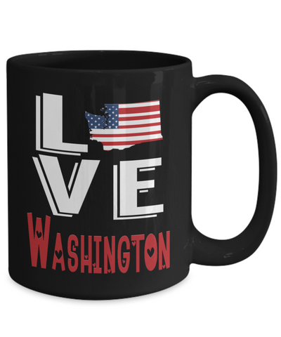 Love Washington State Black Mug Gift Novelty American Keepsake Coffee Cup