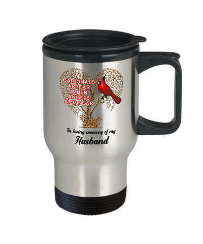 Image of Husband Cardinal Memorial Coffee Travel Mug Angels Appear Keepsake 14oz Cup