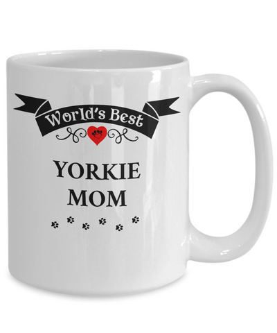 Image of World's Best Yorkie Mom Cup Unique Yorkshire Terrier Ceramic Dog  Mug Gifts for Women