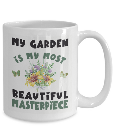 Image of Gardener's Floral Mug Gift My Garden is My Most Beautiful Masterpiece Novelty Coffee Cup