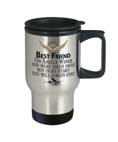 Best Friend Angel Wings In Loving Memory Travel Mug Gift Memorial Coffee Cup