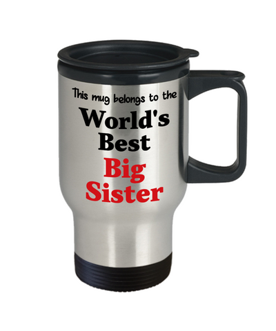 Image of World's Best Big Sister Family Insulated Travel Mug With Lid Gift Novelty Birthday Thank You Appreciation Coffee Cup