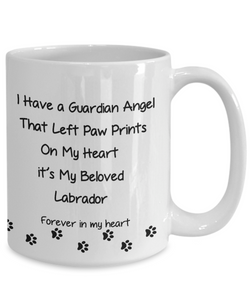 "Pet Remembrance, ""I Have a Guardian Angel in Heaven, Labrador Dog memorial gift"