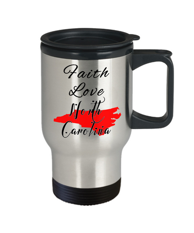 Image of Patriotic USA Gift Travel Mug With Lid Faith Love North Carolina Unique Novelty Birthday Christmas Ceramic Coffee Tea Cup