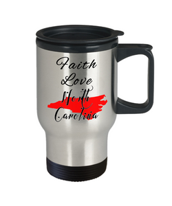 Patriotic USA Gift Travel Mug With Lid Faith Love North Carolina Unique Novelty Birthday Christmas Ceramic Coffee Tea Cup