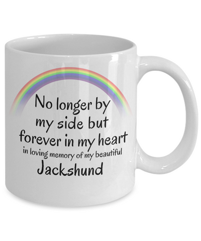 Image of Jackshund Memorial Gift Dog Mug No Longer By My Side But Forever in My Heart Cup In Memory of Pet Remembrance Gifts