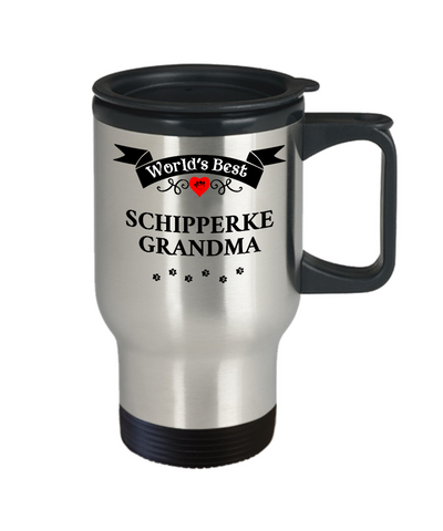 Image of World's Best Schipperke Grandma Dog Cup Unique Travel Coffee Mug With Lid Gift Cup
