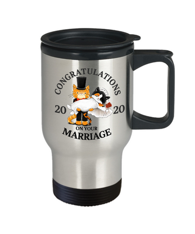 Congratulations Marriage 2020 Cat Travel Mug Gift Wedding Mr & Mrs Fur Lovers Cup