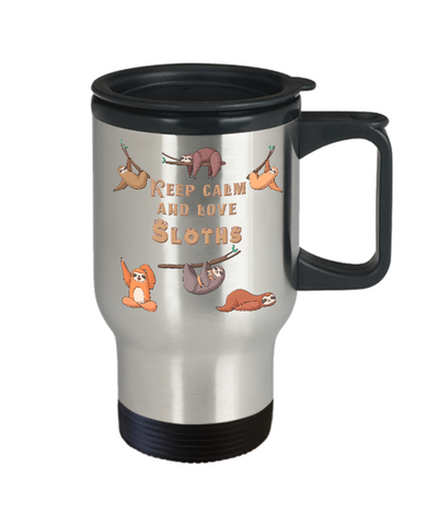 Image of Sloth Coffee Travel Mug With Lid Keep Calm Love Sloths Funny Cute Mom and Baby Tea Cup