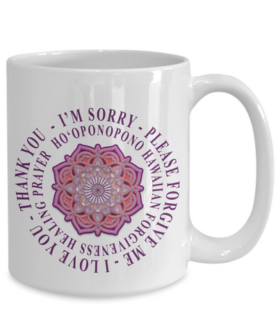 Hoʻoponopono Pink Mandala Mug Hawaiian Prayer for Healing Coffee Cup