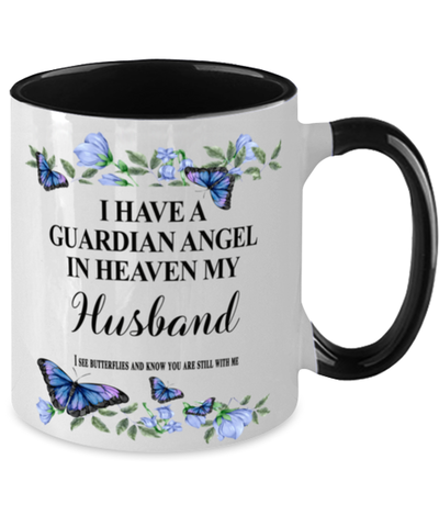Image of Husband Memorial Two-Toned Mug In Loving Memory Mourning Emotional Support Cup