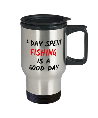 Image of Fishing Good Day  Travel Mug With Lid 14 oz Hobby Coffee Cup