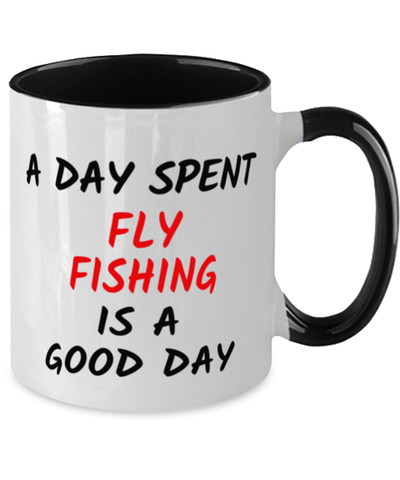 Fly Fishing Good Day Mug Two-Toned 11 oz Hobby Ceramic Coffee Cup