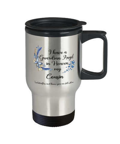 Cousin Guardian Angel Butterfly Memorial Travel Mug In Loving Memory Mourning Keepsake 14 oz Cup