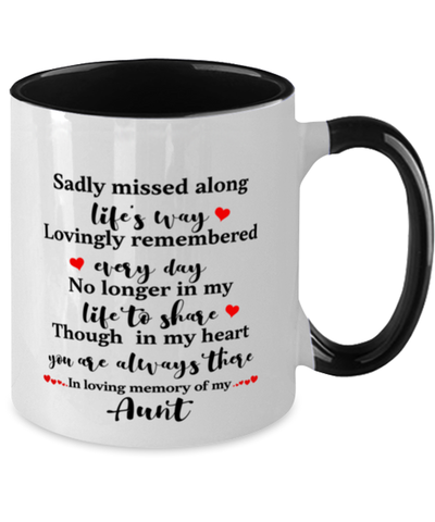 Aunt In Loving Memory Mug Mourning Remembrance Keepsake Two-Toned 11 oz Cup